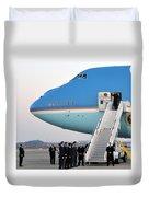 President Obama, Osan Air Base, Korea Duvet Cover