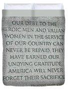 President Truman's Dedication To World War Two Vets Duvet Cover