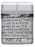 Presidential Message Duvet Cover