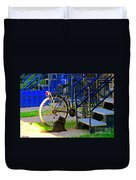 Pretty Cat In Verdun Taking The Sun Blue Picket Fence And Bike Montreal Garden Scene Carole Spandau  Duvet Cover