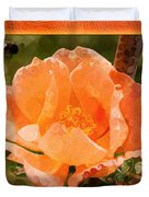 Pretty Peachy Rose Abstract Flower Duvet Cover