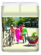 Pretty Pink Summer Dress Sunny Stroll Licari St Denis Scene Montreal Bike Racks And Flowers Cspandau Duvet Cover