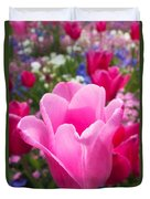 Pretty Pink Tulip And Field With Flowers And Tulips Duvet Cover