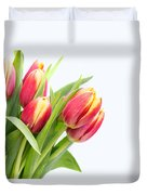 Pretty Red And Yellow Tulips On White Background Duvet Cover