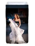 Pretty Woman With Gun Behind The Veil Duvet Cover