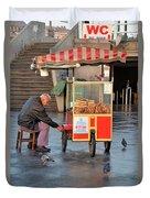 Pretzel Seller With Pushcart Istanbul Turkey Duvet Cover