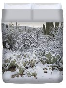 Prickly Pear And Saguaro Cacti Duvet Cover