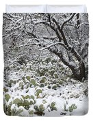 Prickly Pear Cactus And Mesquite Tree Duvet Cover