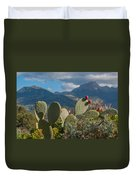 Prickly Pear Cactus And Mountains Duvet Cover