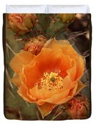 Prickly Pear Cactus Blooming In The Sandia Foothills Duvet Cover