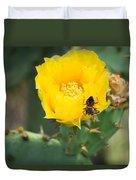 Cedar Park Texas Prickly Pear Cactus In Flower Duvet Cover