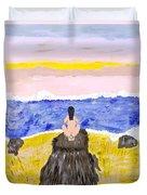 Primitive Woman Crouching Duvet Cover