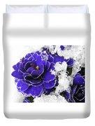 Primulas In The Snow Duvet Cover