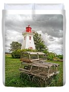 Prince Edward Island Lighthouse With Lobster Traps Duvet Cover by Edward Fielding