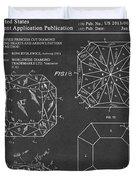 Princess Cut Diamond Patent Barcode Gray Duvet Cover