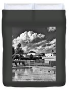 Pristine Pool Bw Marrakesh Palm Springs Duvet Cover