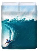 Pro Surfer Kelly Slater Surfing In The Pipeline Masters Contest Duvet Cover