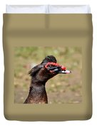 Profile Of A Brown Muscovy Duck Duvet Cover