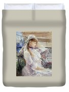 Profile Of A Seated Young Woman Duvet Cover
