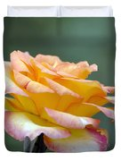 Profile View Yellow And Pink Rose Duvet Cover