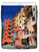 promenade and homes in Camogli Duvet Cover
