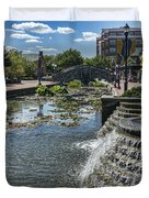 Promenade And Waterfall In Carroll Creek Park In Frederick Mary Duvet Cover