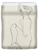 Prostrate Female Nude Duvet Cover