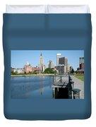 Providence Skyline And Riverfront Duvet Cover