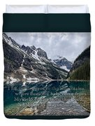 Psalm 121 With Mountains Duvet Cover