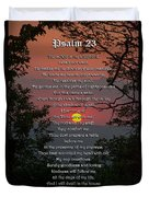 Psalm 23 Prayer Over Sunset Landscape Duvet Cover by Christina Rollo