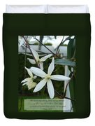 Psalm Eighteen Two White Clematis Duvet Cover