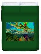 Psychedelic Skyline Over Spokane River #1 Duvet Cover