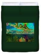 Psychedelic Skyline Over Spokane River #2 Duvet Cover