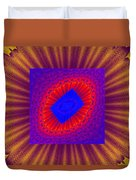 Psychedelic Spiral Vortex Yellow Blue And Red Fractal Flame Duvet Cover