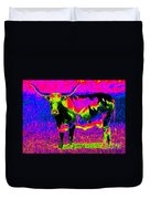 Psychedelic Texas Longhorn Duvet Cover