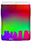 Psychedelic Vancouver Skyline Triptych Centre Duvet Cover