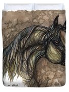 Psychodelic Grey Horse Original Painting Duvet Cover
