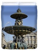 Public Fountain At The Place De La Concorde In Paris France Duvet Cover