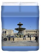 Public Fountain At The Place De La Concorde Duvet Cover