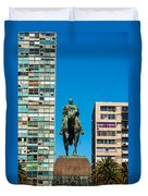 Public Statue Of General Artigas In Montevideo Duvet Cover