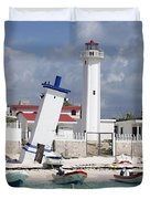 Puerto Morelos Lighthouse Duvet Cover