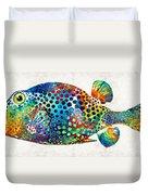 Puffer Fish Art - Puff Love - By Sharon Cummings Duvet Cover