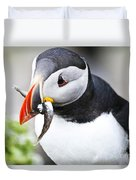 Puffin With Fish Duvet Cover