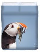 Puffin With Sandeels Portrait Duvet Cover