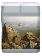Puffins On Lundy Island Oil On Canvas Duvet Cover