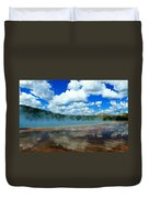 Puffy Clouds And Hot Springs Duvet Cover