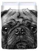 Pug Dog Black And White Duvet Cover