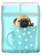 Pug In A Cup Duvet Cover by Greg Cuddiford