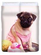 Pug Puppy Bath Time Duvet Cover
