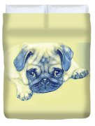 Pug Puppy Pastel Sketch Duvet Cover